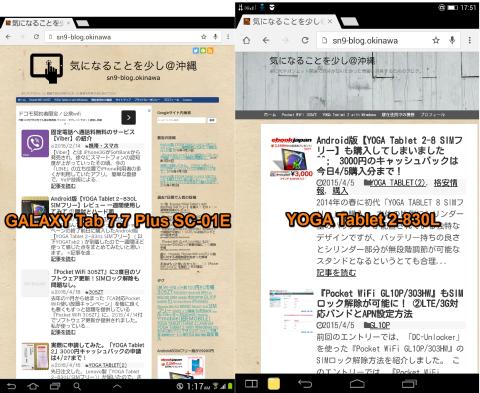 レスポンシブデザイン対応のサイト(このブログ)を表示させた状態(縮尺は物理的な画面サイズ比に合わせています)